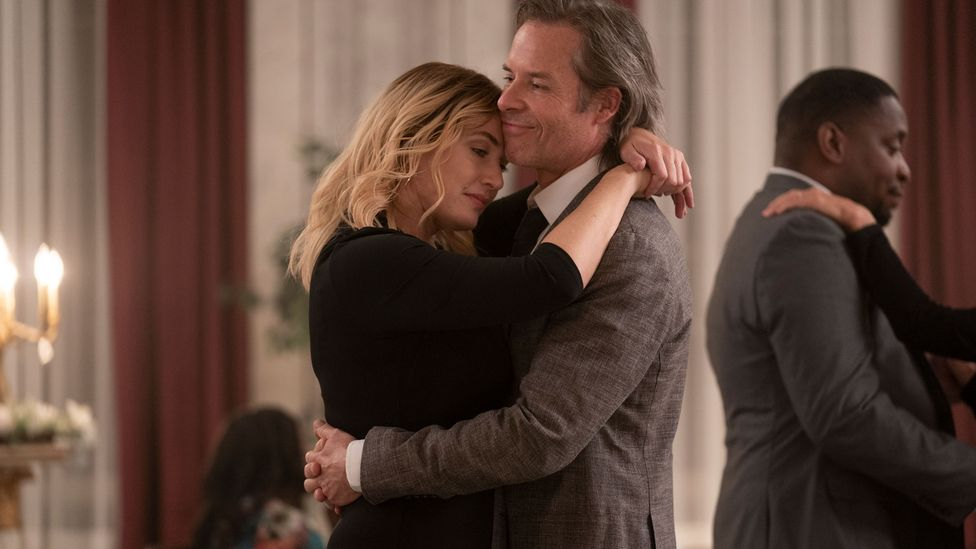The supporting cast includes Guy Pearce (right) as a local creative writing teacher and Winslet's romantic interest (Credit: HBO)