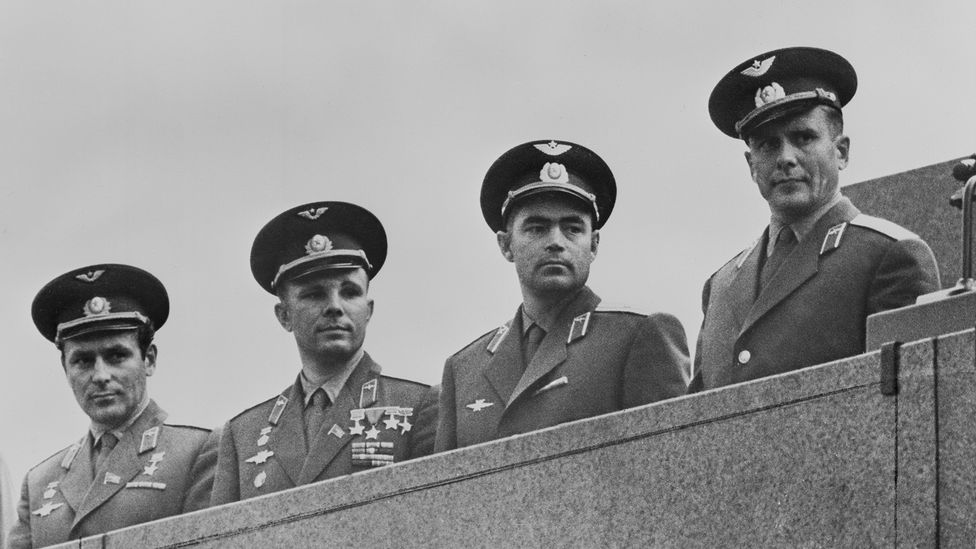 The potential astronaut's first intake was reduced to 20, including Yuri Gagarin second from the left (Credit: Keystone / Hulton Archive / Getty Images)