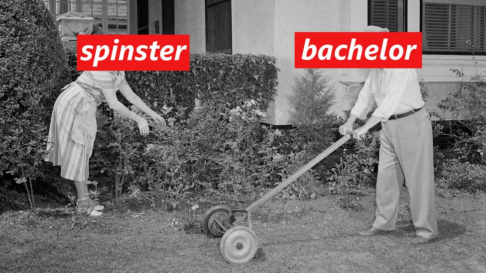 "A couple gardening with the words ""bachelor"" and ""spinster"" (Credit: Getty Images/ BBC)"