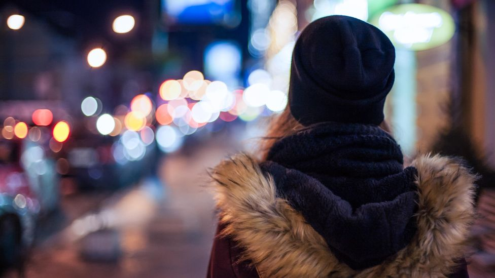 File image of a woman walking home at night