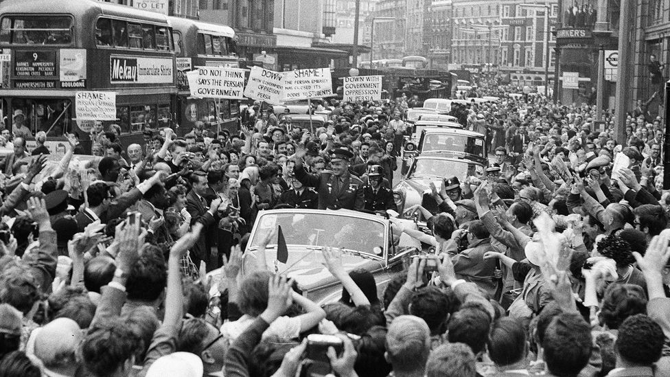 Gagarin's feat ensured that huge crowds greeted everywhere on his world tour (Credit: Daily Herald/Getty Images)
