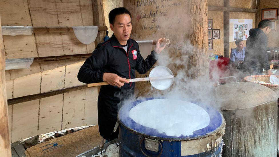 Vu Ngoc Vuong, who comes from a long line of pho masters, owns a rice noodle workshop in Hanoi (Courtesy of Vu Ngoc Vuong)