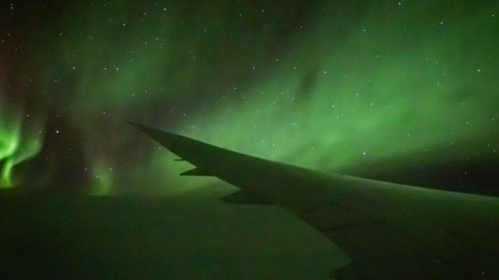 Aurora Australis, taken from a plane on 10 April 2021