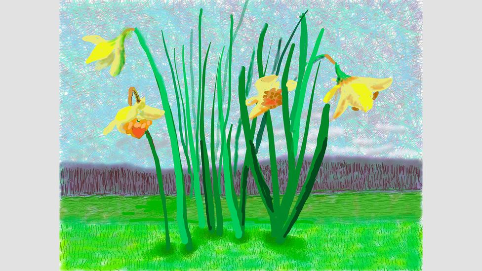 The Royal Academy features David Hockney's latest nature paintings, created using an iPad, such as No 118, 16th March 2020 (Credit: David Hockney)