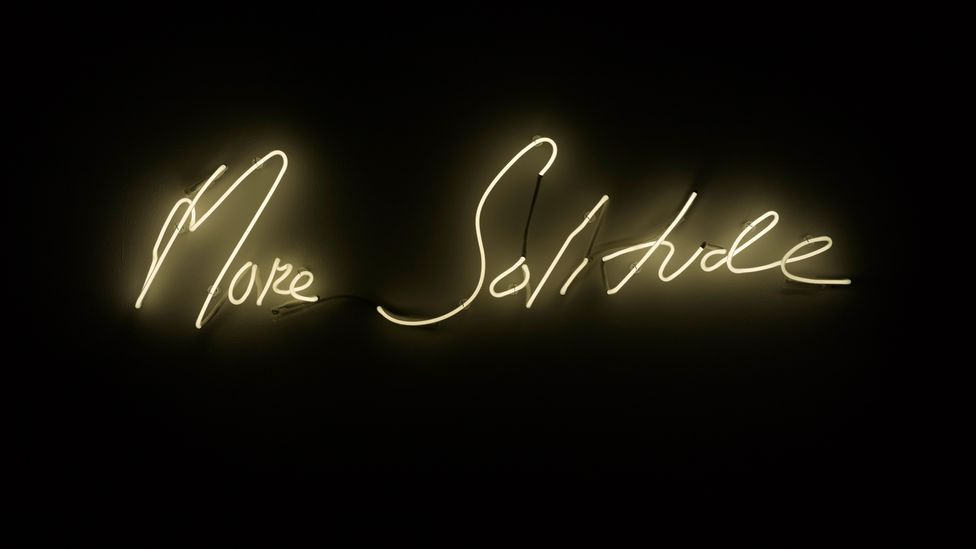 Tracey Emin's neon work More Solitude, 2014, points to the show's theme of loneliness (Credit: Tracey Emin/ Collection of Michelle Kennedy and Richard Tyler)