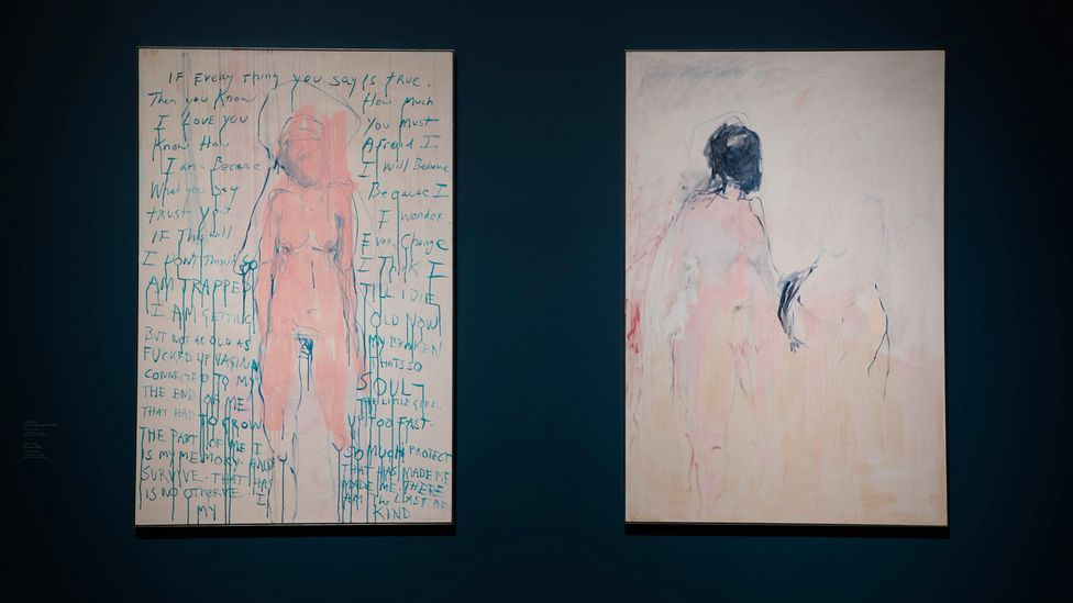 Emin's I am the Last of my Kind, 2019 (left) and You Came, 2018 (Credit: Private collection courtesy of Galleria Lorcan O'Neill Roma /Tracey Emin / Photo: David Parry)