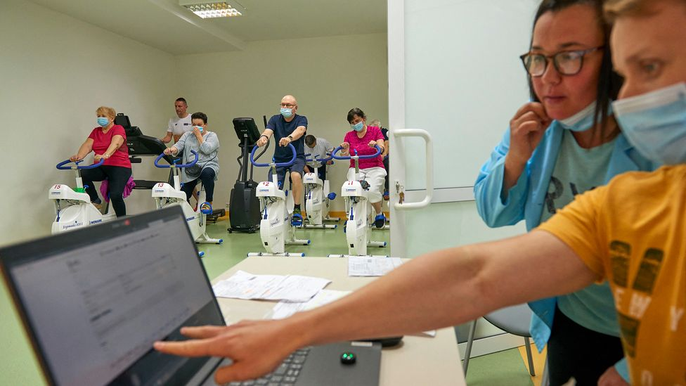 Exercise based therapies like at this clinic in Poland are being used to help rehabilitate patients suffering from long Covid (Credit: Bartosz Siedlik/AFP/Getty Images)
