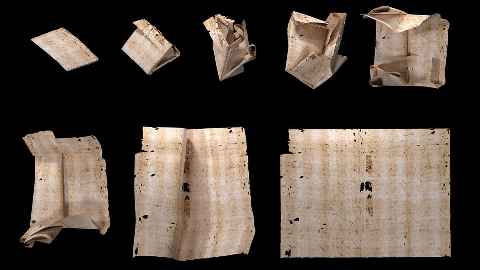 A computer-generated unfolding sequence of a letter from the Brienne Collection (Credit: Unlocking History Research Group)