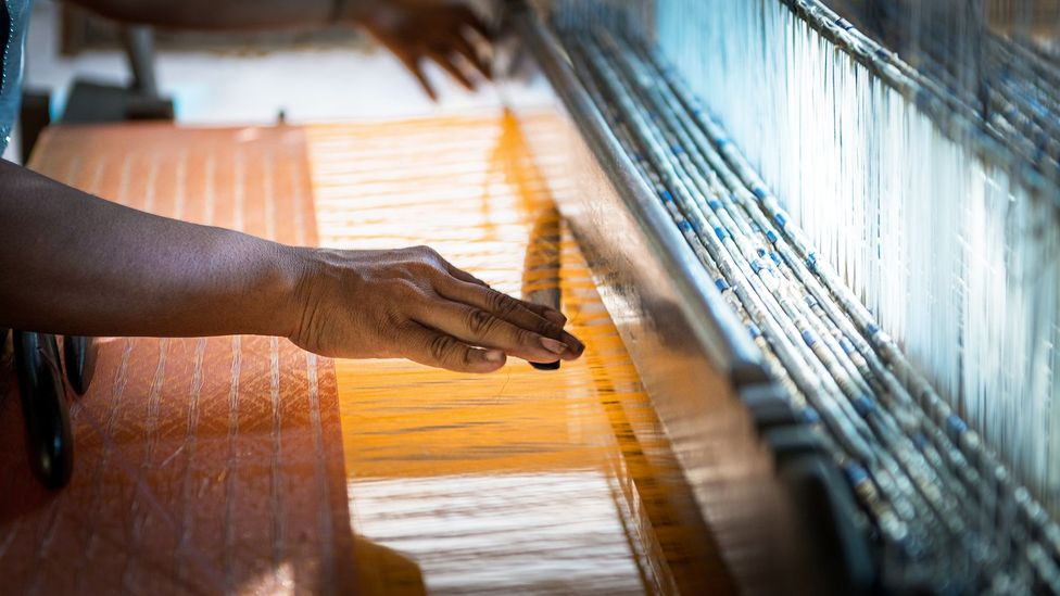 Ikat weaving from Cambodia's unique golden silk dates back more than 1,000 years
