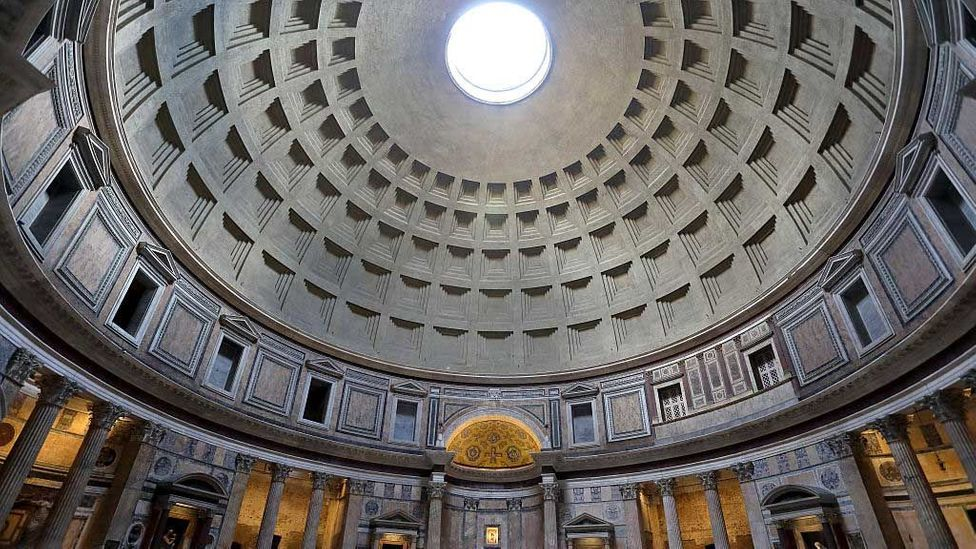 The Pantheon in Rome, Italy – the world's largest unreinforced concrete dome was built in the 2nd Century AD (Credit: Athanasios Gioumpasis/Getty Images)