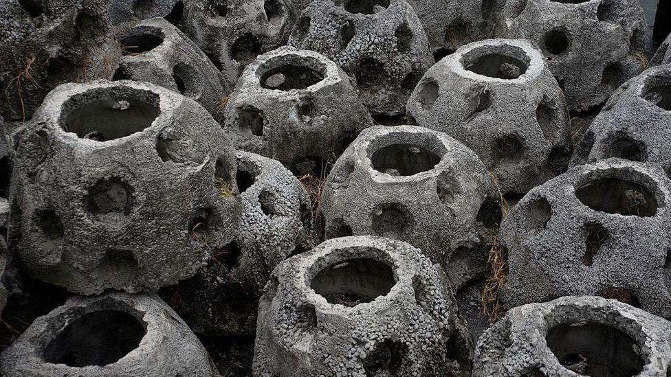 A rare time where concrete works with nature: balls designed to foster reef growth offshore at Puerto Quetzal, in Guatemala (Credit: Orlando Estrada/Getty Images)