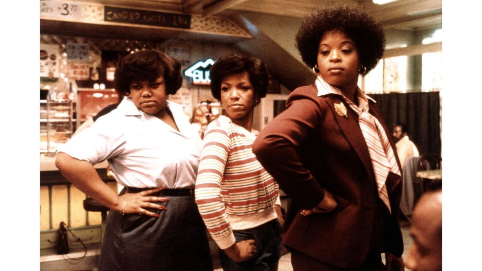 Carolyn (centre) sang as part of the Soul Food Chorus in the 1980 film The Blues Brothers (Credit: Alamy)