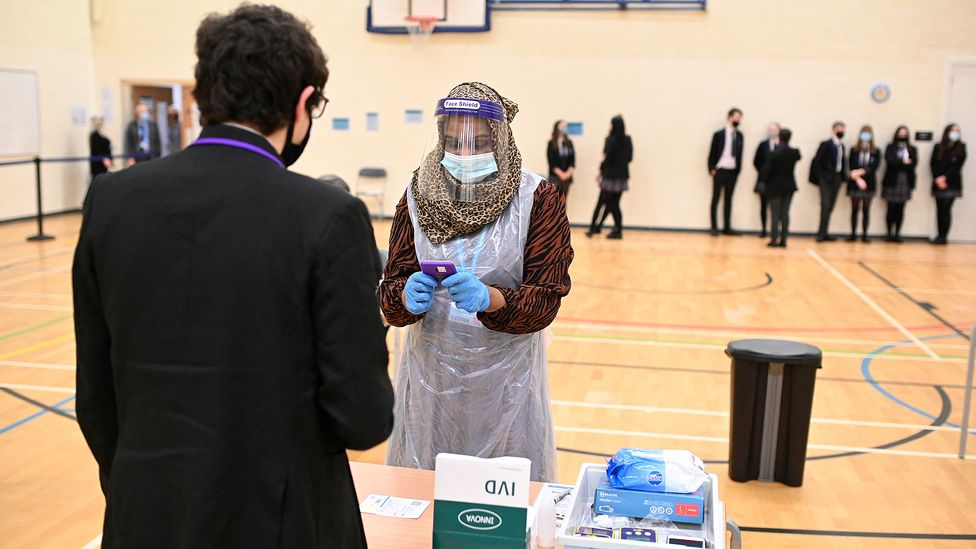 Many schools in the UK have used regular lateral flow testing to check whether pupils might be carrying the Covid-19 virus (Credit: Oli Scarff/AFP/Getty Images)