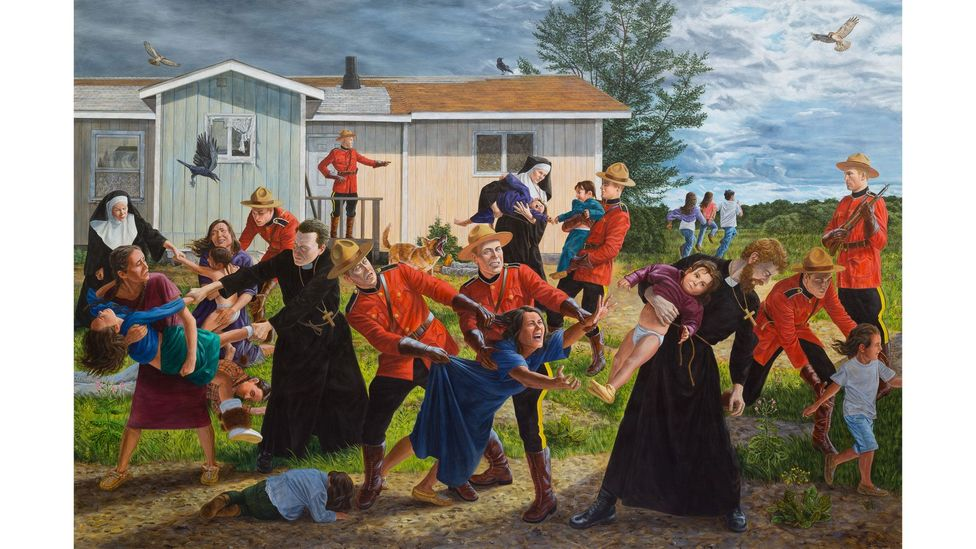 Painted in 2017, The Scream has come to symbolise outrage and grief after the discovery of unmarked graves (Credit: Kent Monkman/ Collection of the Denver Art Museum)