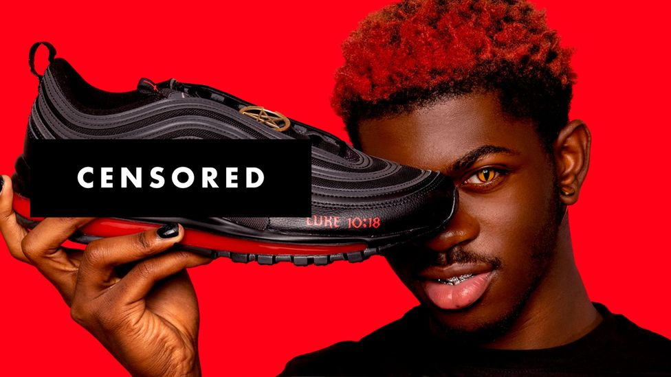 Musician Lil Nas X recently helped create the controversial 'Satan Shoes' (Credit: MSCHF)