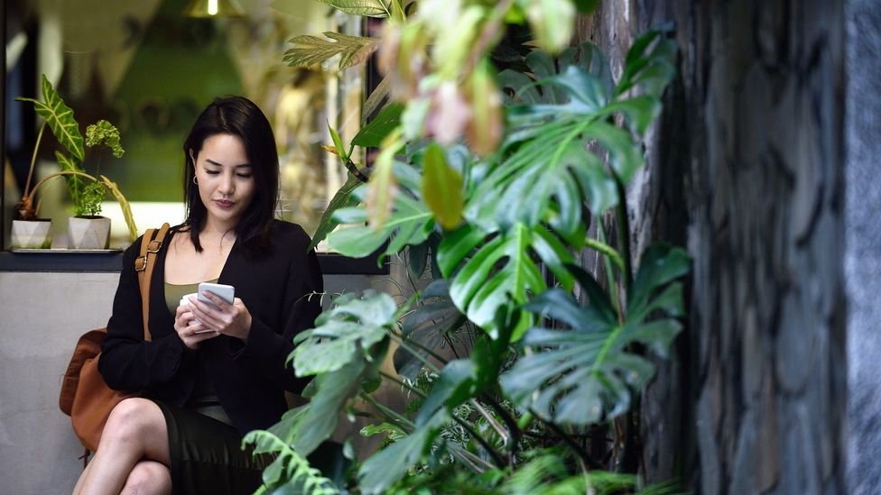 A woman sits and reads her phone in Taipei