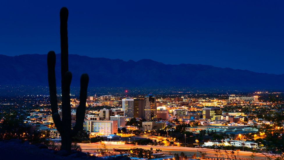 The city of Tucson, Arizona, has dimmed its streetlights to reduce light pollution, but the bulk of it comes from other sources (Credit: Getty Images)