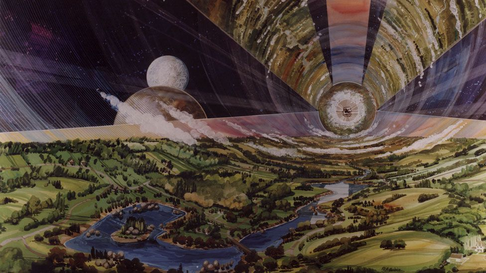 Gerard O'Neill's vision for a space settlement (Credit: Nasa Ames Research Center)