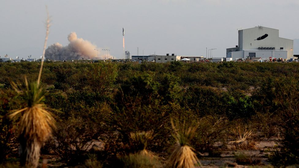 Bezos and passengers lift off, leaving the verdant surface of Earth (Credit: Getty Images)