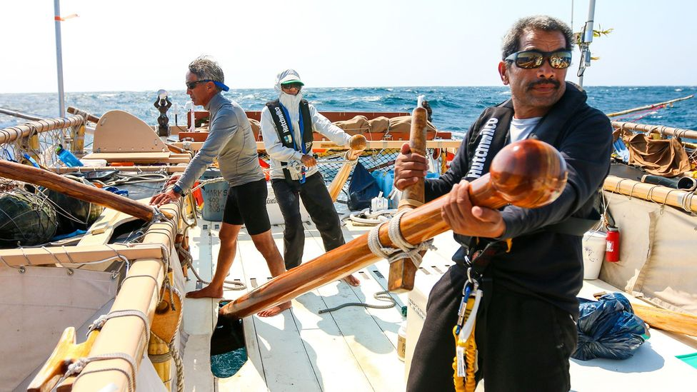 Wayfinders read the sun, stars, wind, waves and wildlife to navigate long-distance ocean journeys without instruments (Credit: Polynesian Voyaging Society)