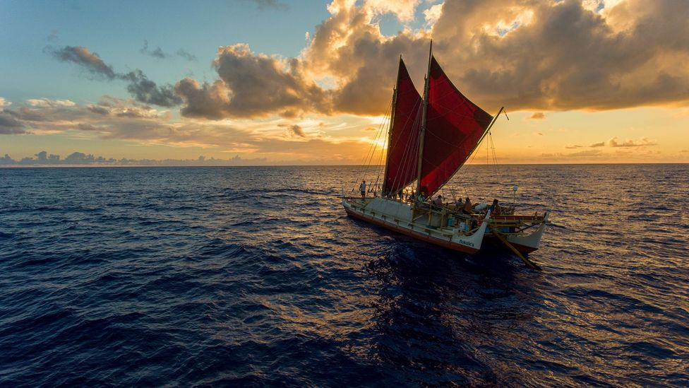 Hōkūle'a, a traditional Polynesian double-hulled sailing canoe, completed its first major wayfinding voyage in 1976 (Credit: Polynesian Voyaging Society)