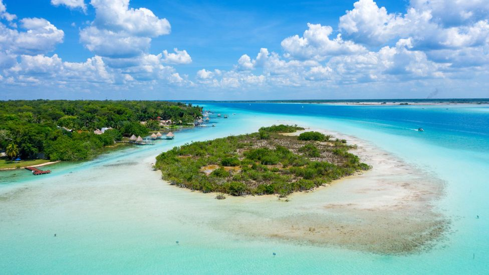 Mangrove island and emerald water in the Bacalar Lagoon, Mexico