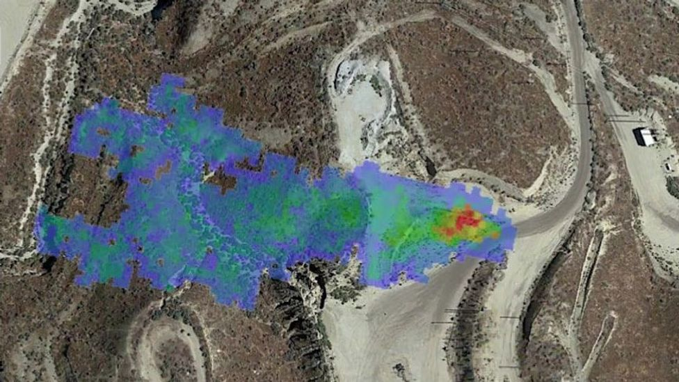 A methane plume detected by Nasa in summer 2020 identified a leaking gas line in California. The operator was then able to confirm and repair the leak (Credit: Nasa/JPL-Caltech)