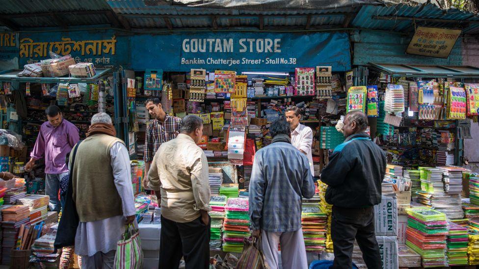 Group of men at College Street book market, Kolkata