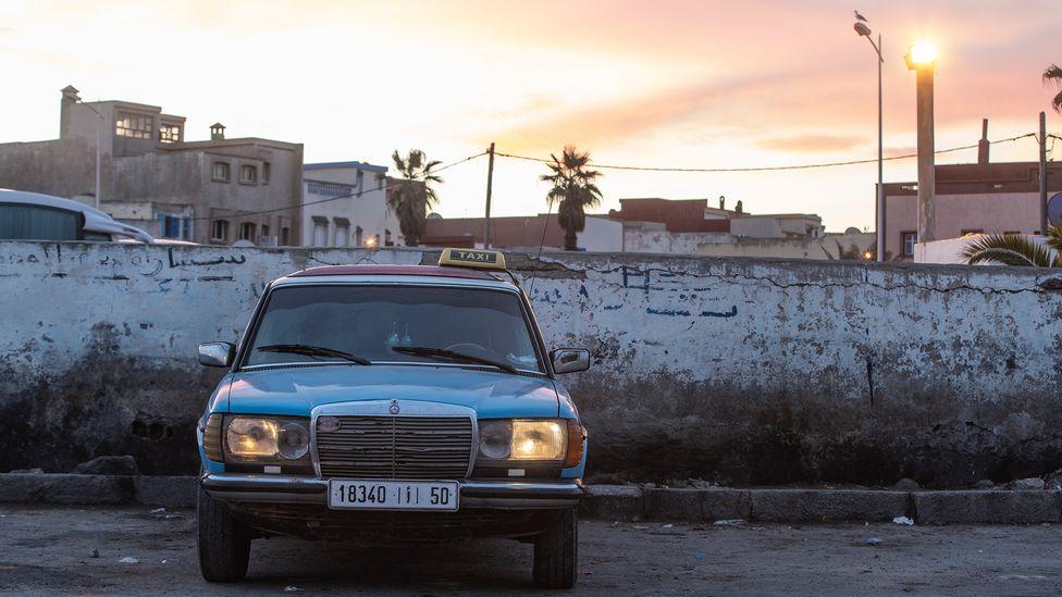 Hassan Mesfar idrives his Mercedes to Essaouira's Place des Grands Taxis (Credit: Sam Christmas)