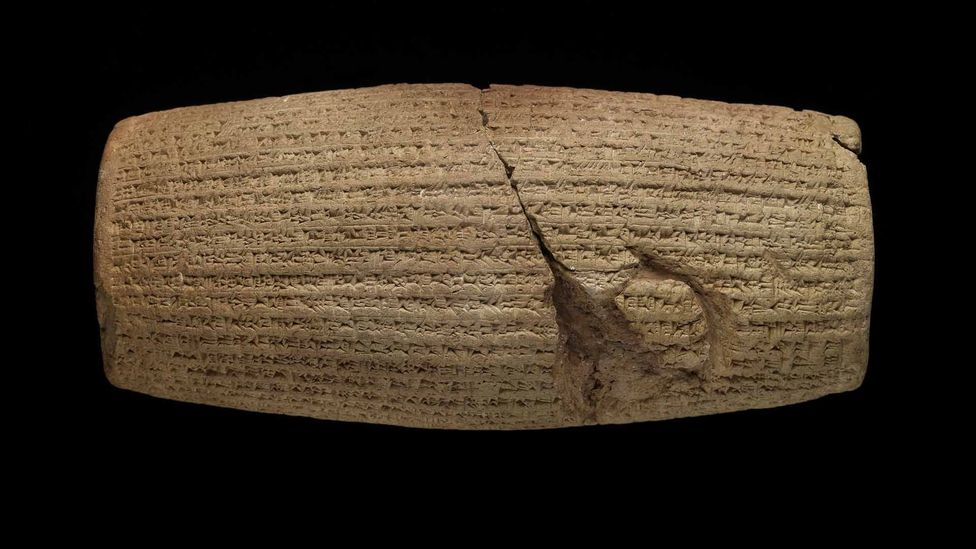 The Cyrus Cylinder features a Babylonian account of the conquest of Babylon by Cyrus in 539 BC (Credit: The Trustees of the British Museum)