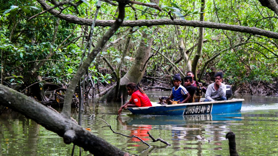 Boat full of men from Orang Seletar tribe on a wild boar hunt