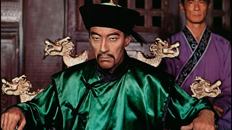 Criminal mastermind Fu Manchu has historically been played by white actors such as Christopher Lee in yellowface (Credit: Alamy)