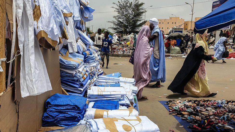 Many blue items are for sale in Nouakchott's central market (Credit: Juan Martinez)