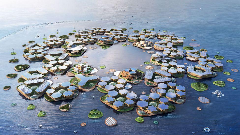 Rendering of floating homes in ocean
