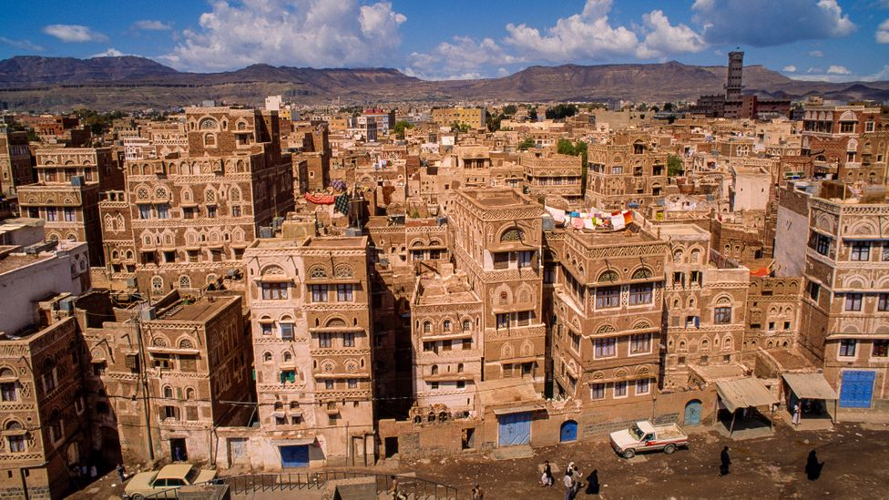 Mud houses in Sanaa in Yemen