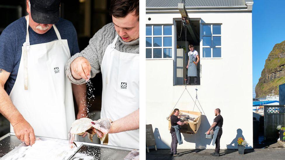Chef Gísli Matthías Auðunsson serves local Icelandic fish at his restaurant (Credit: Slippurinn)