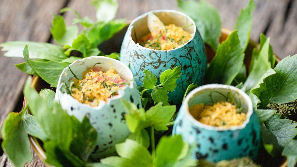 Slippurinn serves a dish guillemot eggs, a local delicacy, in their shells