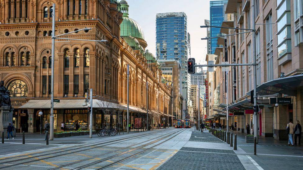 Empty city street and shops during the coronavirus pandemic, Sydney, Australia