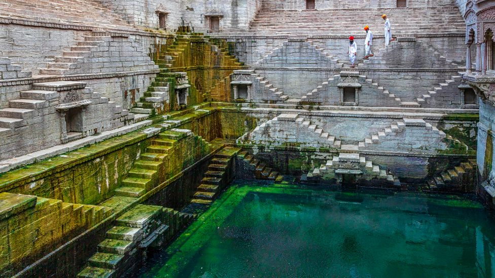Stepwells usually have cascading galleries and steps to a central pool of water (Credit: Kim Petersen/Alamy)