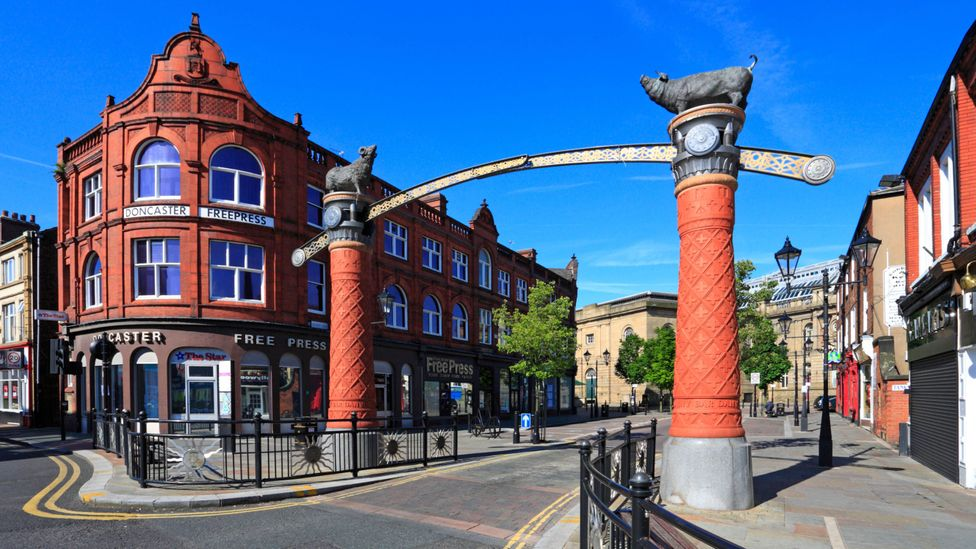 Sunny Bar street under blue sky in Doncaster, South Yorkshire