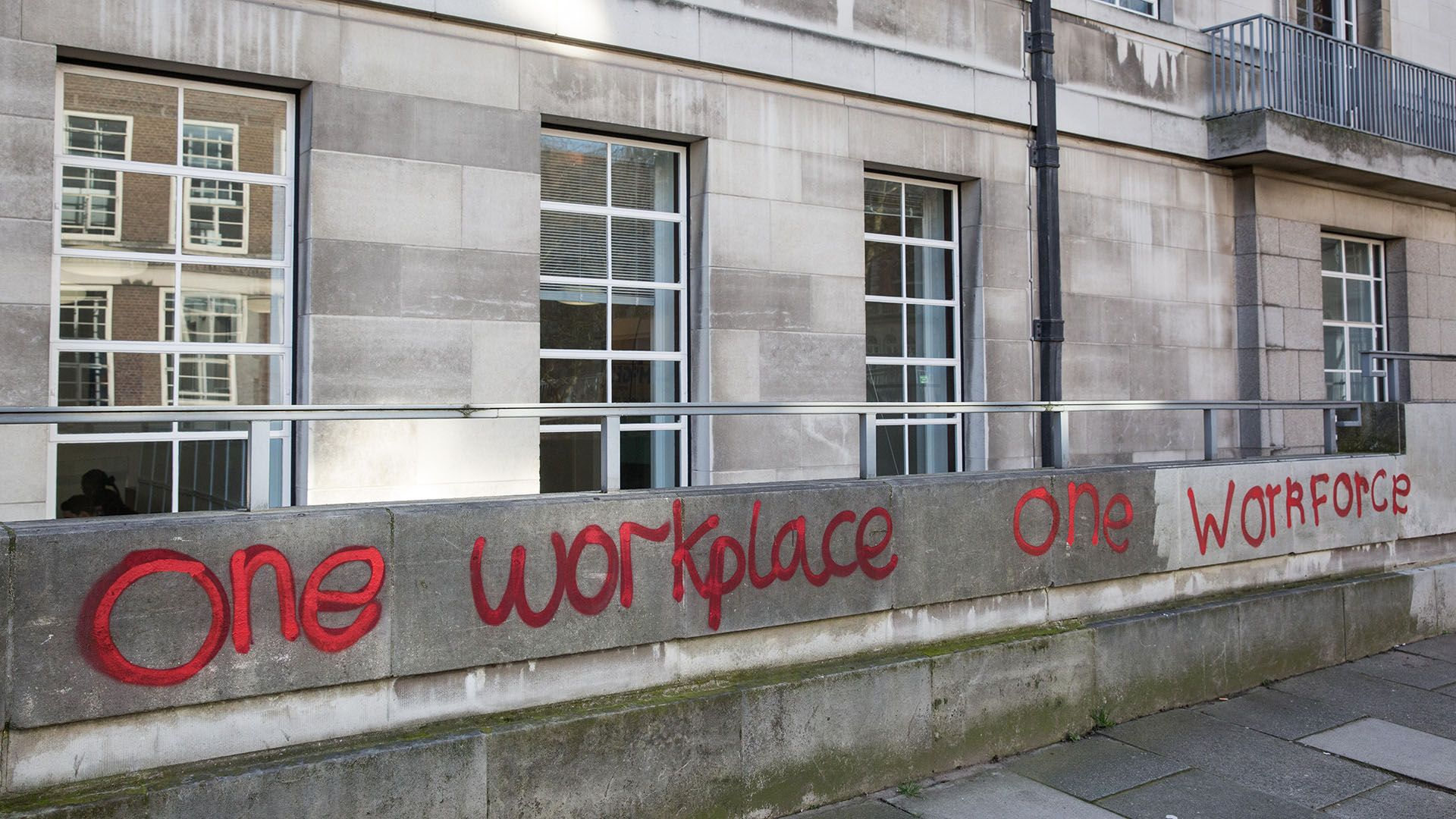 Graffiti outside the University of London on One Day Without Us and the UN World Day of Social Justice early last year (Credit: Alamy)