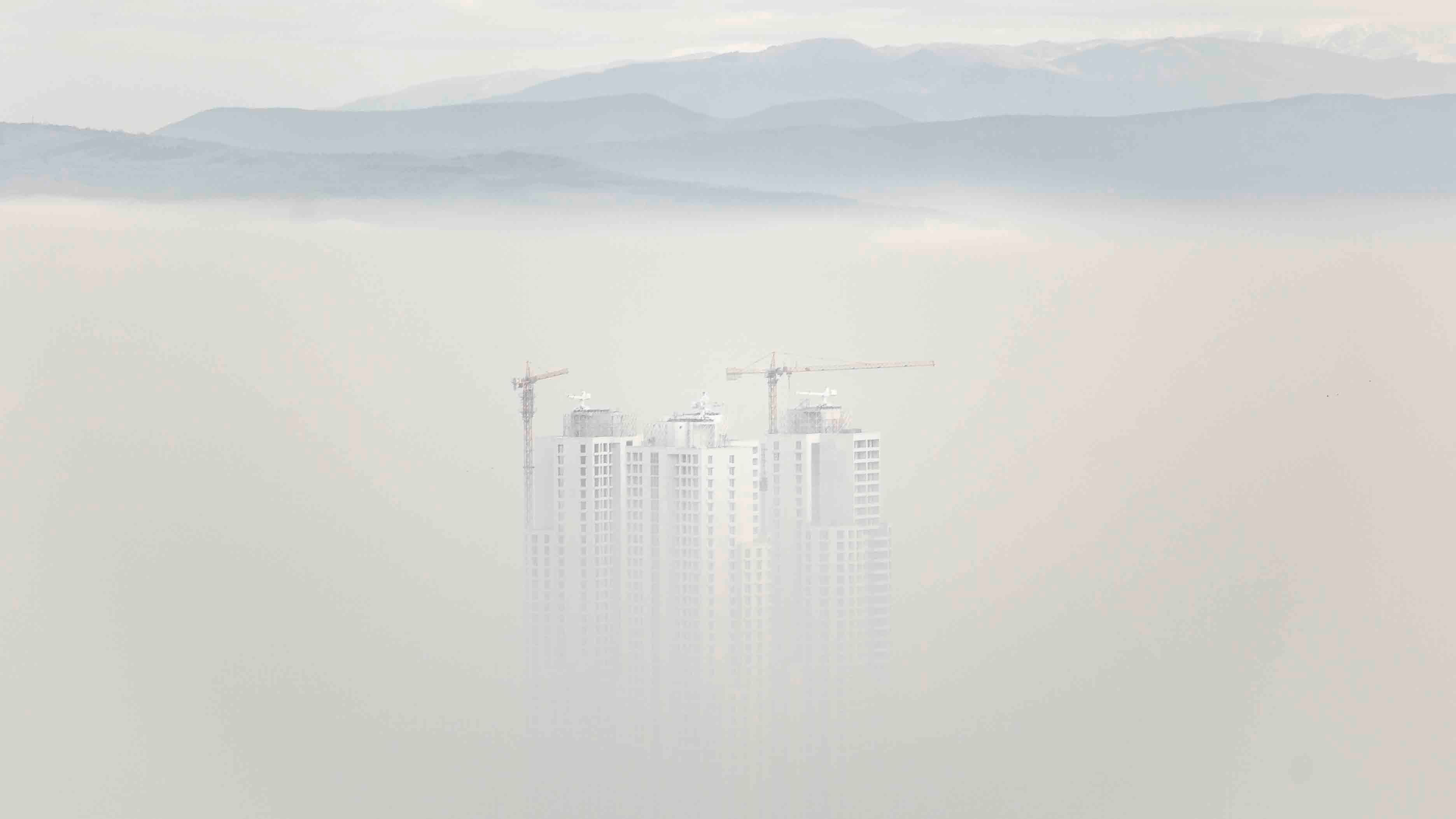 In winter, pollution emissions combined with the local geography serves to trap smog over the city of Skopje, North Macedonia (Credit: Getty Images)