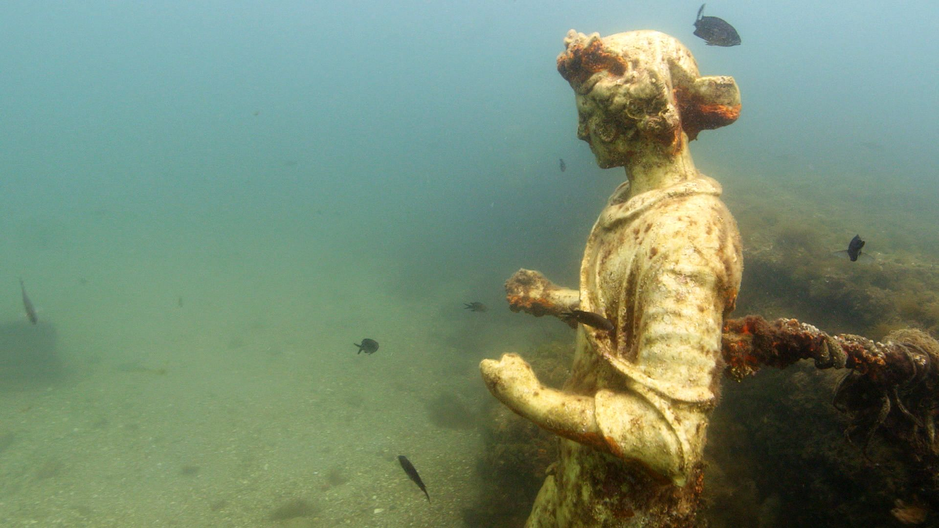 "The underwater statues at Baiae are replicas but still feel ""ghostly and sublime"" (Credit: Pomona Pictures)"