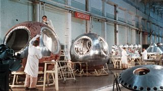 Soviet space capsules under construction in 1961 (Credit: Sovfoto/Getty Images)