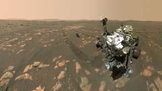 Nasa's most recent rover to Mars, Perseverance – along with its pint-sized helicopter – could have carried some microbial hitchhikers along for the ride (Credit: NASA/JPL-Caltech)